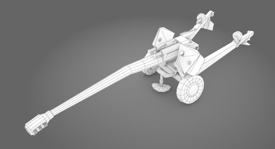 Damaged howitzer 2A65 type 03 royalty-free 3d model - Preview no. 12