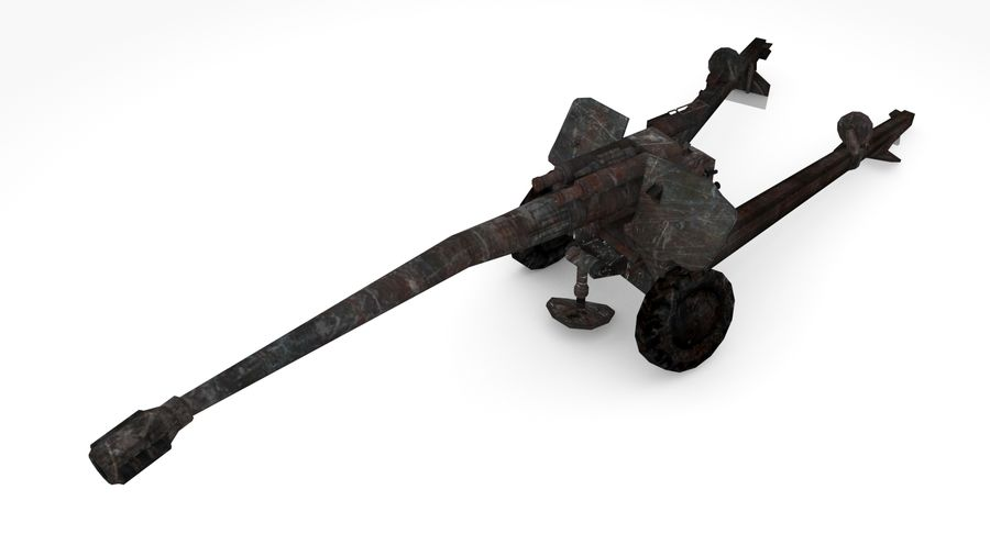 Damaged howitzer 2A65 type 03 royalty-free 3d model - Preview no. 6