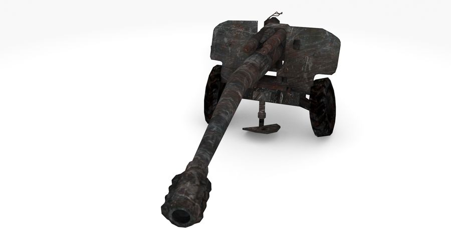 Damaged howitzer 2A65 type 03 royalty-free 3d model - Preview no. 4