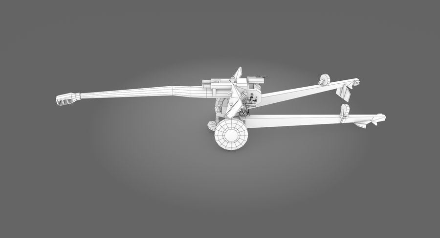 Damaged howitzer 2A65 type 03 royalty-free 3d model - Preview no. 13