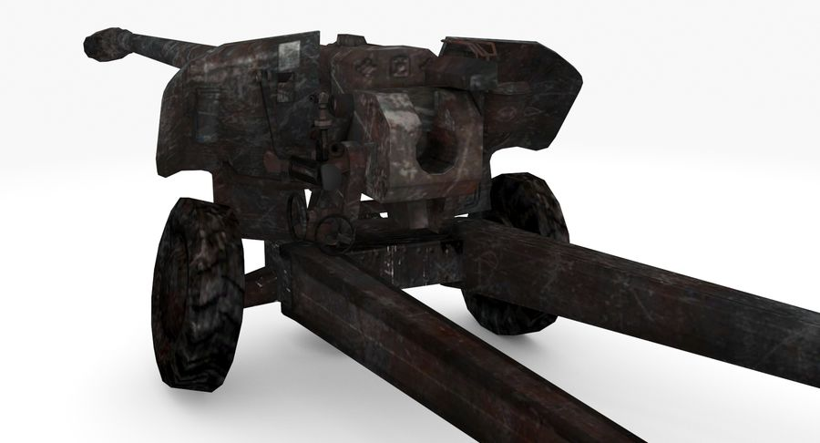 Damaged howitzer 2A65 type 03 royalty-free 3d model - Preview no. 3
