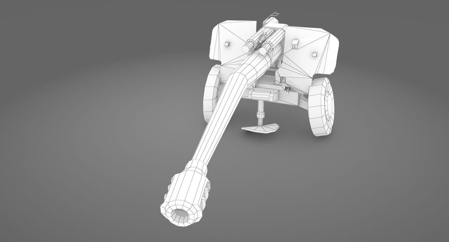 Damaged howitzer 2A65 type 03 royalty-free 3d model - Preview no. 10