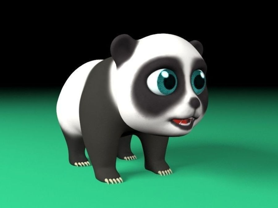 cartoon panda royalty-free 3d model - Preview no. 5