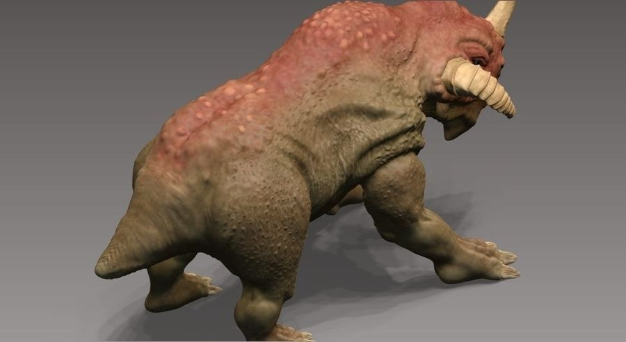 rhino monster royalty-free 3d model - Preview no. 4