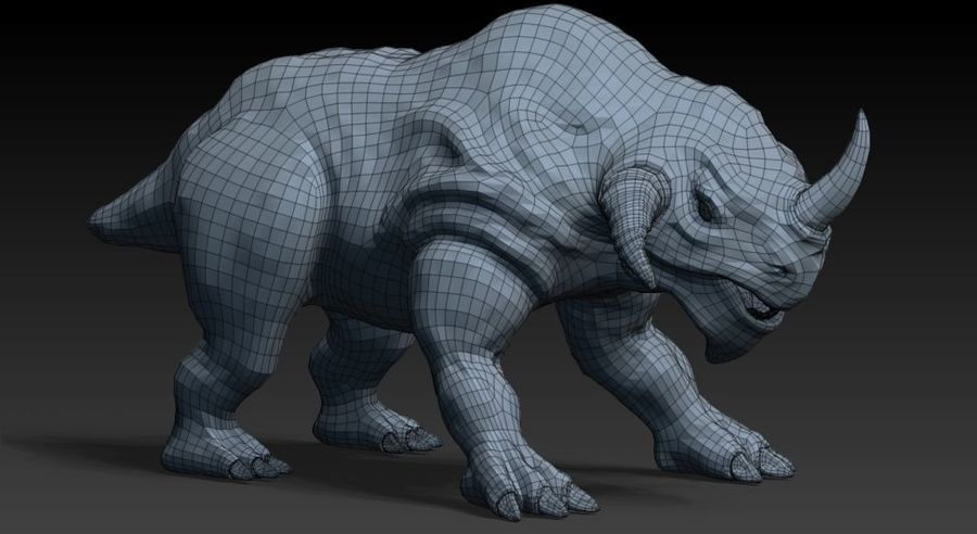 rhino monster royalty-free 3d model - Preview no. 7