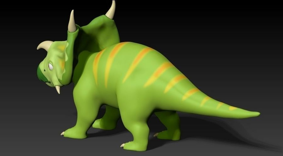 cartoon green dino royalty-free 3d model - Preview no. 3