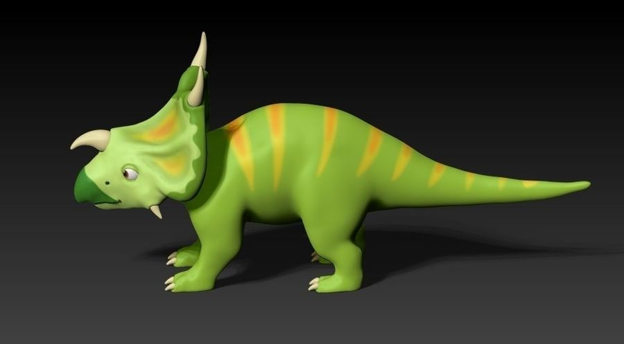 cartoon green dino royalty-free 3d model - Preview no. 4