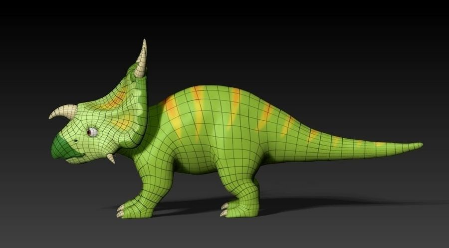 cartoon green dino royalty-free 3d model - Preview no. 5