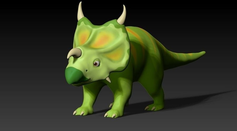 cartoon green dino royalty-free 3d model - Preview no. 6