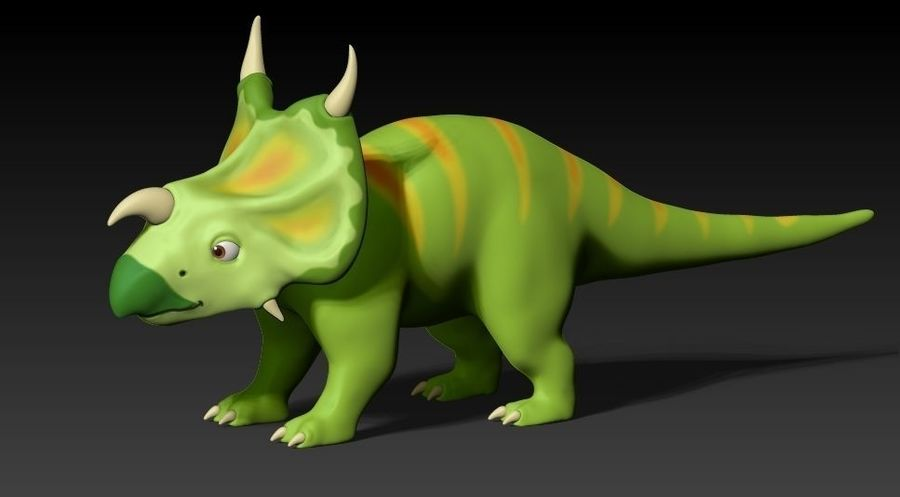 cartoon green dino royalty-free 3d model - Preview no. 1