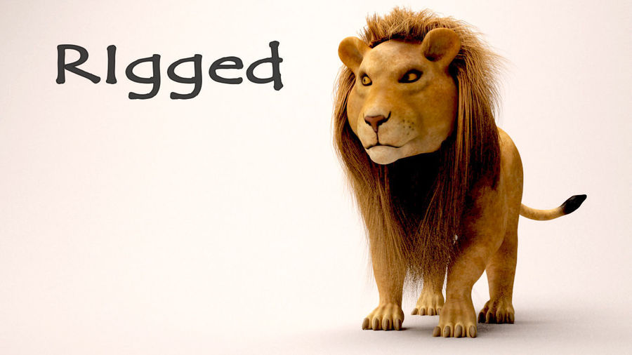 lion and lioness royalty-free 3d model - Preview no. 1