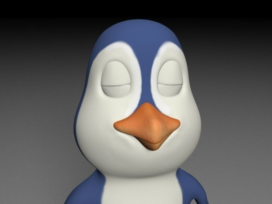 漫画のペンギン royalty-free 3d model - Preview no. 3