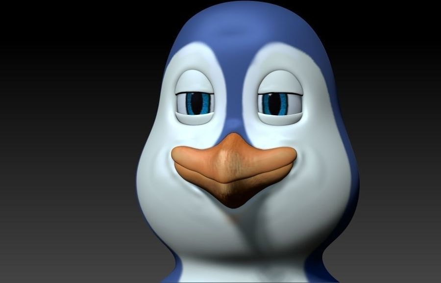 pingouin dessin animé royalty-free 3d model - Preview no. 2