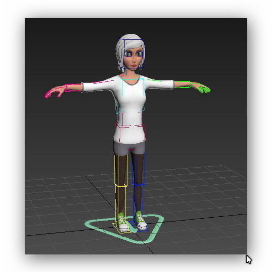 cartoon woman royalty-free 3d model - Preview no. 12