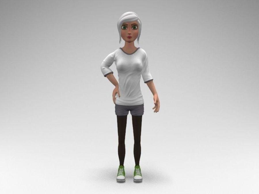 cartoon woman royalty-free 3d model - Preview no. 7
