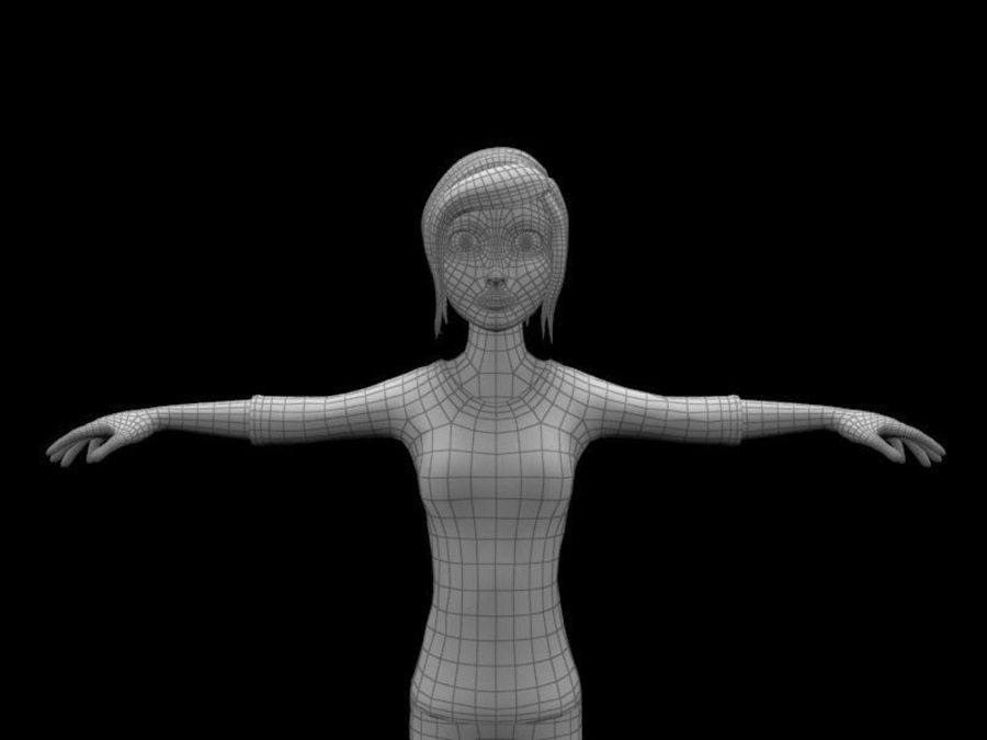 cartoon woman royalty-free 3d model - Preview no. 10