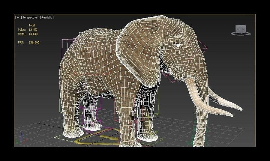elefante marrone royalty-free 3d model - Preview no. 8