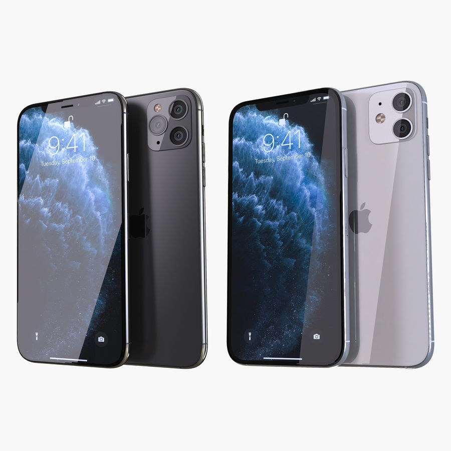 Apple iPhone 11 Pro and iPhone 11 royalty-free 3d model - Preview no. 1