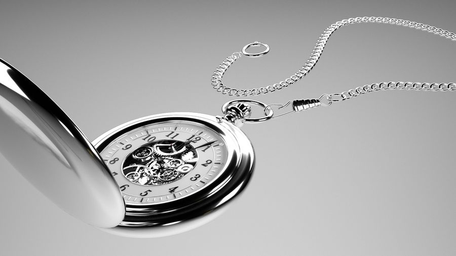 relógio de bolso royalty-free 3d model - Preview no. 2