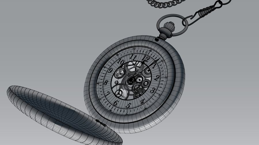 relógio de bolso royalty-free 3d model - Preview no. 8