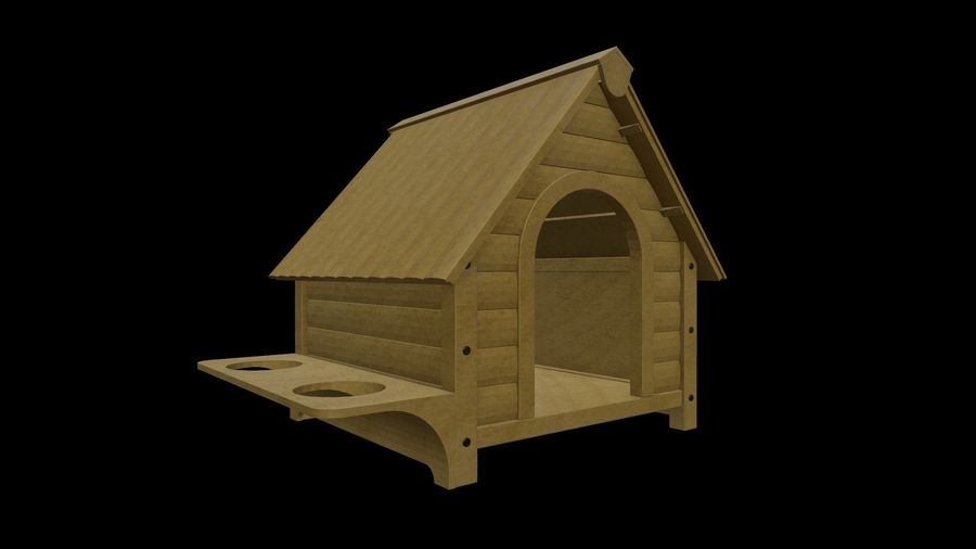 HOME-001 Dog House royalty-free 3d model - Preview no. 2