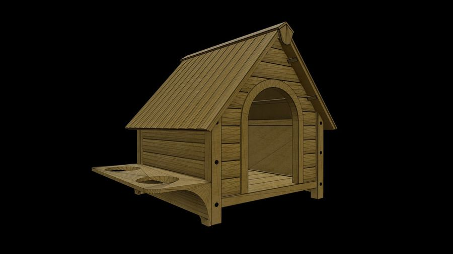 HOME-001 Dog House royalty-free 3d model - Preview no. 3