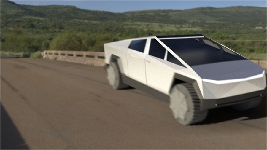 Tesla Cyber Truck royalty-free 3d model - Preview no. 1