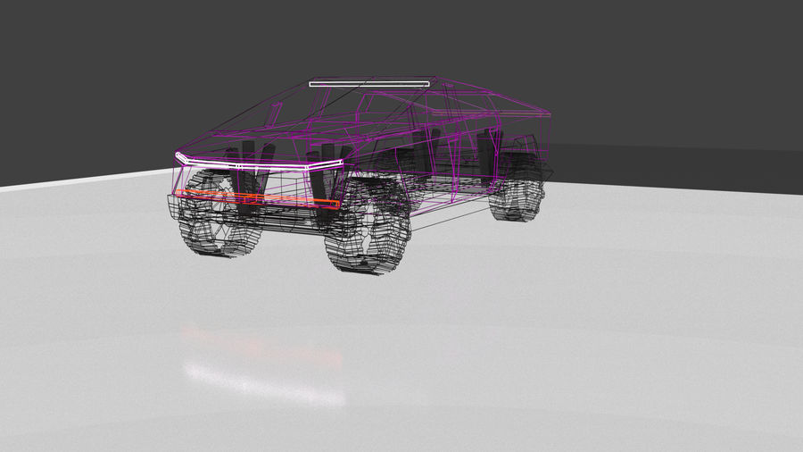 Tesla Cyber Truck royalty-free 3d model - Preview no. 6