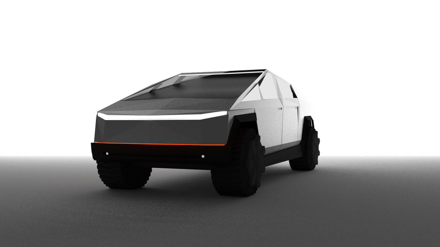 Tesla Cyber Truck royalty-free 3d model - Preview no. 3