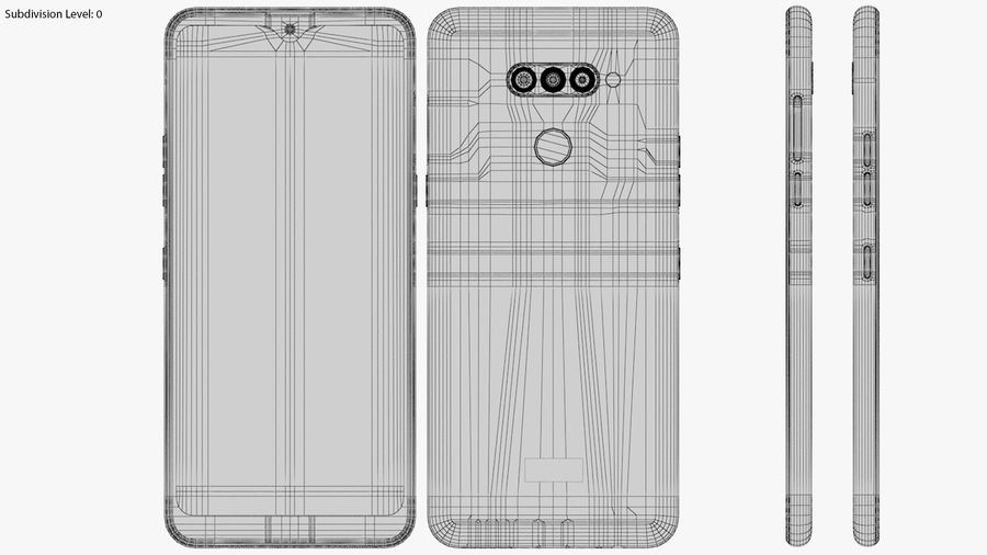 LG K50S New Moroccan Blue royalty-free 3d model - Preview no. 19