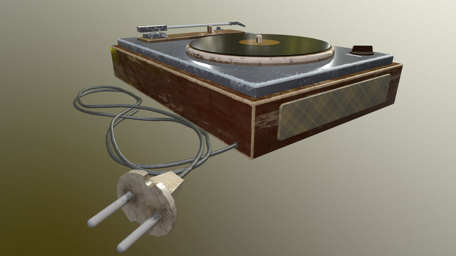 Old vinyl player royalty-free 3d model - Preview no. 5