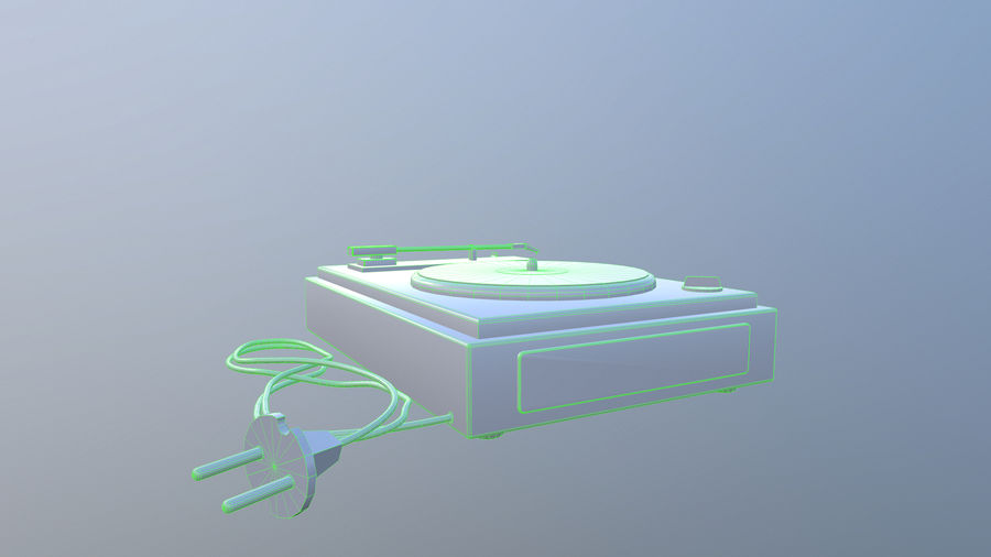 Old vinyl player royalty-free 3d model - Preview no. 8