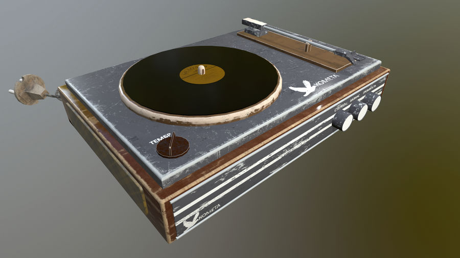 Old vinyl player royalty-free 3d model - Preview no. 1