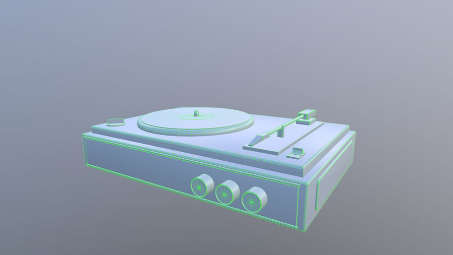 Old vinyl player royalty-free 3d model - Preview no. 7