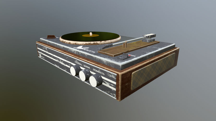 Old vinyl player royalty-free 3d model - Preview no. 2