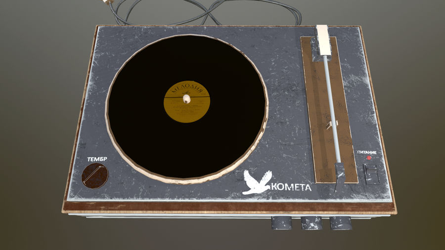 Old vinyl player royalty-free 3d model - Preview no. 4