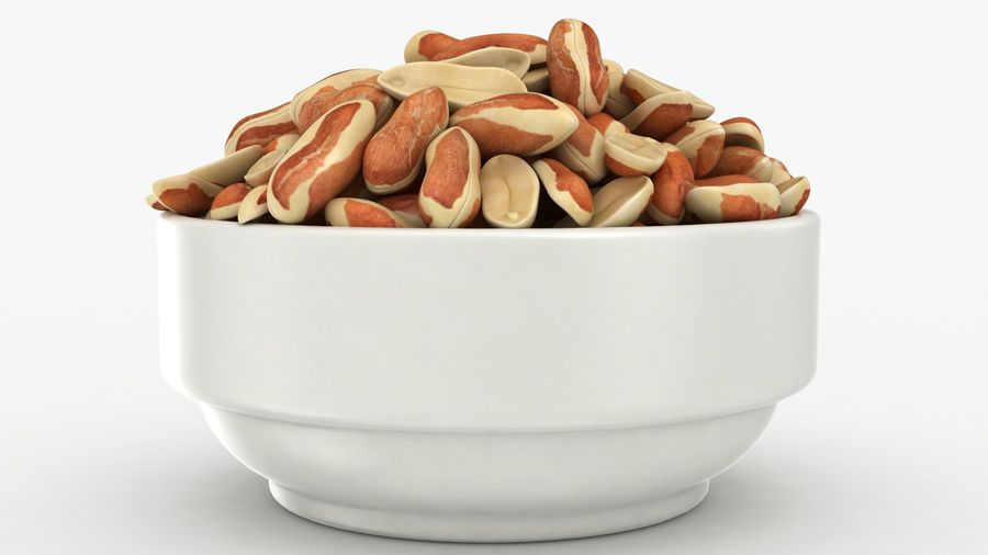Peanuts with Peel in Bowl royalty-free 3d model - Preview no. 11