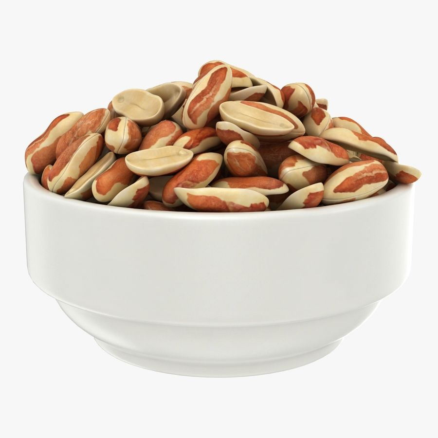 Peanuts with Peel in Bowl royalty-free 3d model - Preview no. 1