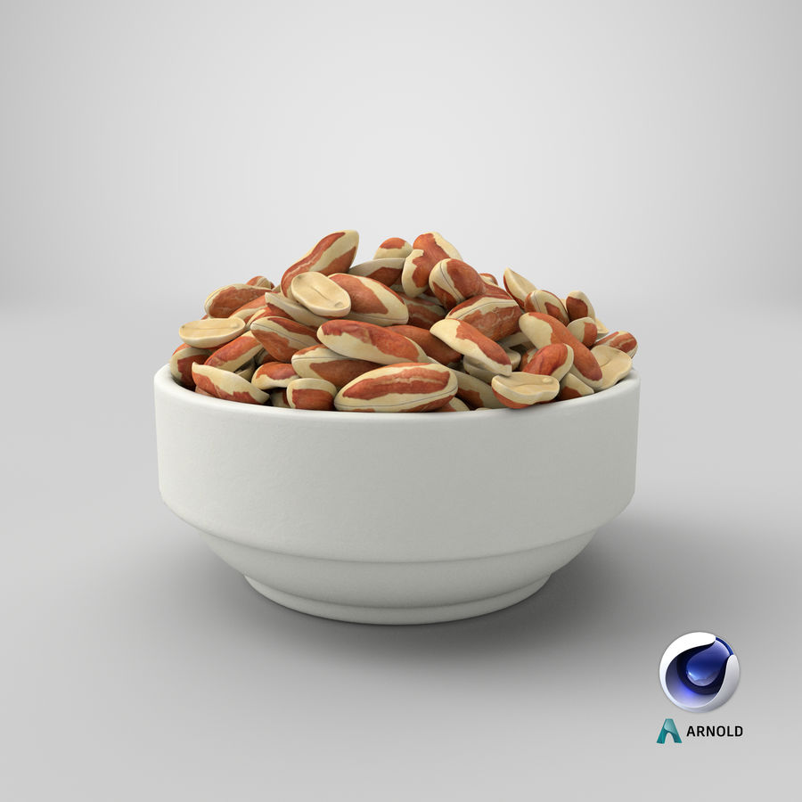 Peanuts with Peel in Bowl royalty-free 3d model - Preview no. 31