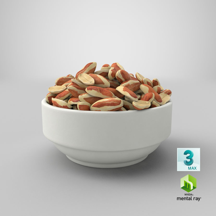 Peanuts with Peel in Bowl royalty-free 3d model - Preview no. 9