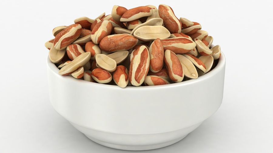 Peanuts with Peel in Bowl royalty-free 3d model - Preview no. 12