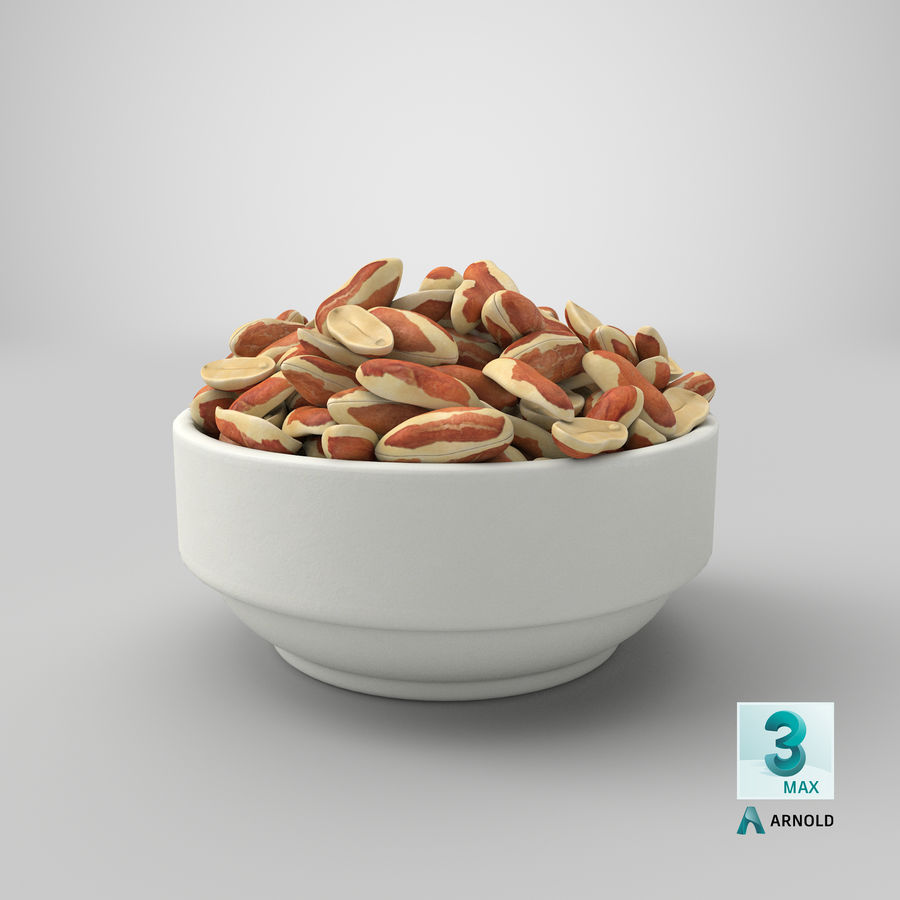 Peanuts with Peel in Bowl royalty-free 3d model - Preview no. 8