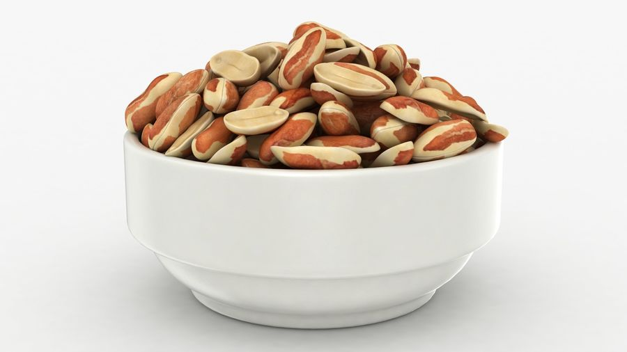 Peanuts with Peel in Bowl royalty-free 3d model - Preview no. 3
