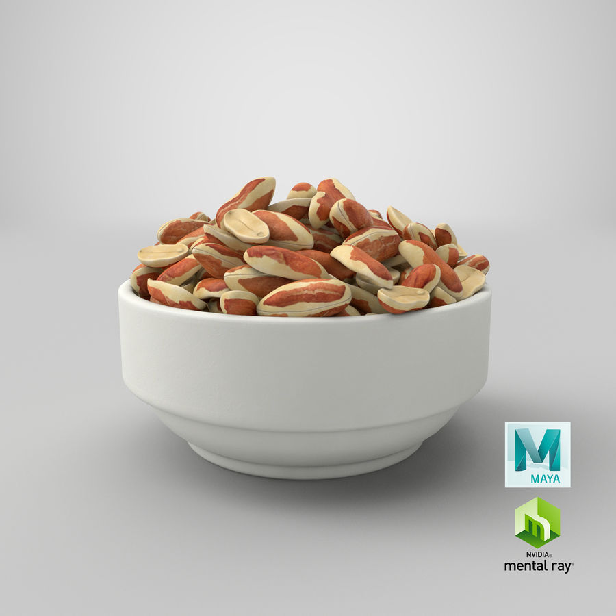 Peanuts with Peel in Bowl royalty-free 3d model - Preview no. 36