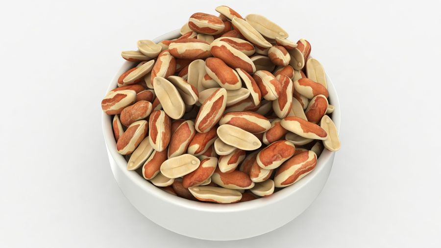 Peanuts with Peel in Bowl royalty-free 3d model - Preview no. 13