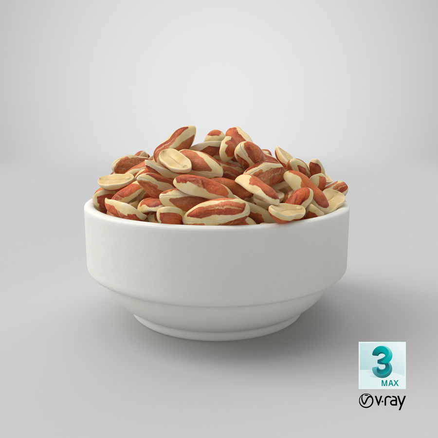 Peanuts with Peel in Bowl royalty-free 3d model - Preview no. 10