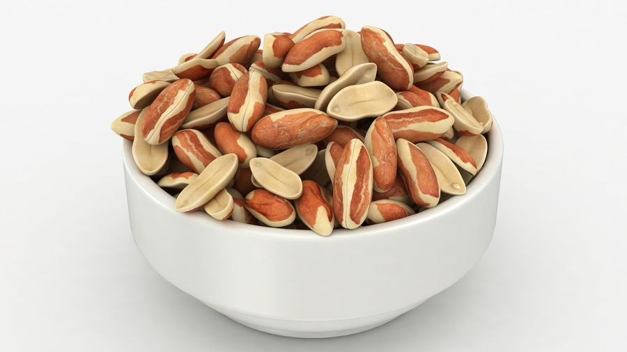 Peanuts with Peel in Bowl royalty-free 3d model - Preview no. 6