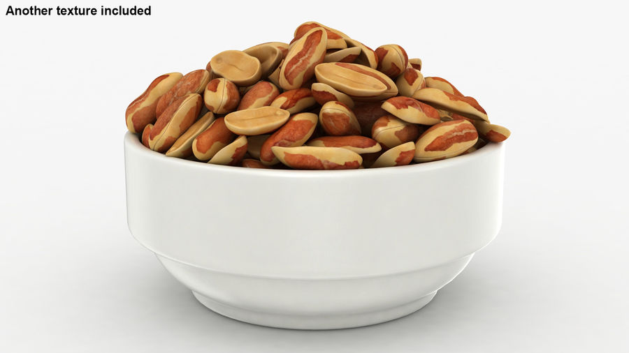 Peanuts with Peel in Bowl royalty-free 3d model - Preview no. 4