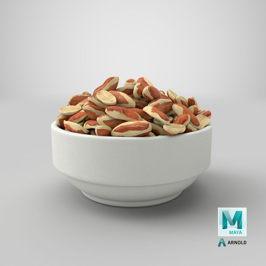 Peanuts with Peel in Bowl royalty-free 3d model - Preview no. 35