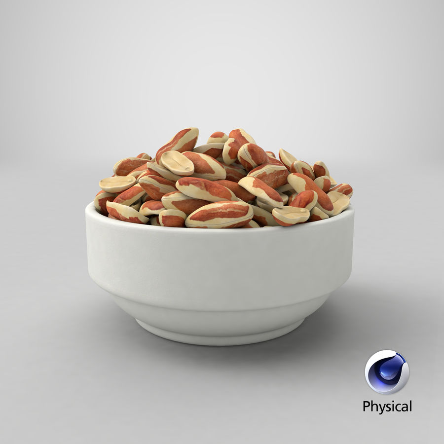 Peanuts with Peel in Bowl royalty-free 3d model - Preview no. 30